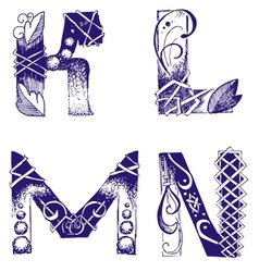 Hand-drawn letters k l m n vector