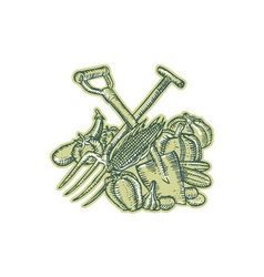 Spade pitchfork crop harvest etching vector