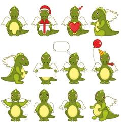 Set of little green dragons vector