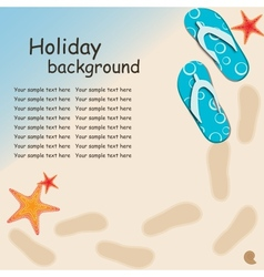 Sandals and starfish at beach nature summer vector