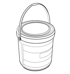 Chemical bucket out line vector