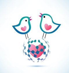 Social network concept two birds on the globe vector