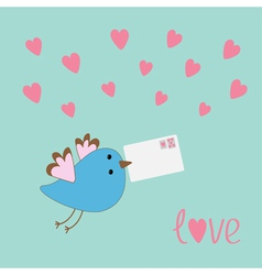 Flying bird with letter and hearts love card vector