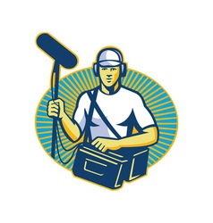 Soundman worker with microphone retro vector