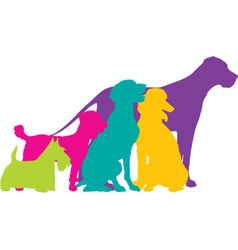 Dog silhouettes colour vector