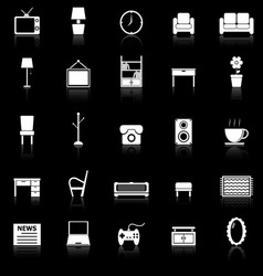 Living room icons with reflect on black background vector