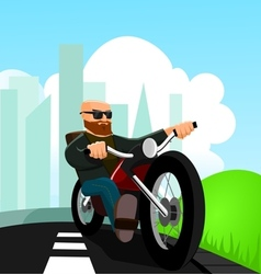 Biker on the road vector