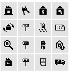 Black real estate icon set vector