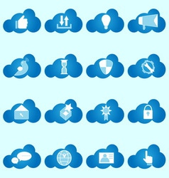 Social network icons on cloud shape vector
