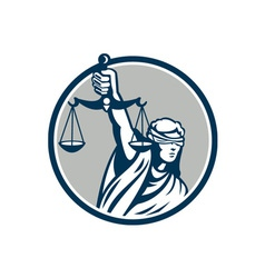 Lady blindfolded holding scales justice front vector