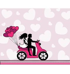 Couple in love riding a motorbike vector