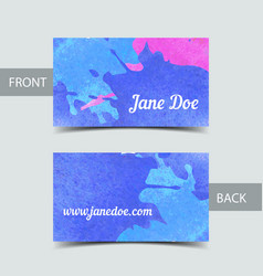Business card template for watrcolor vector