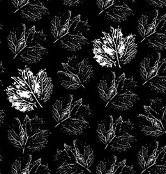 Prints of leaf seamless pattern on a black vector