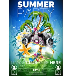 Summer beach party flyer design with speakers vector