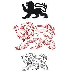 Medieval heraldic lion vector