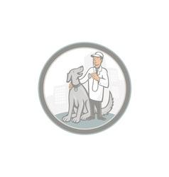 Veterinarian vet with pet dog cartoon vector