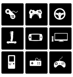 Black video game icon set vector