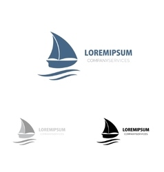 Ship sign small blue boat branding identity vector