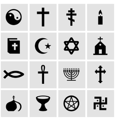 Black religion icon set vector