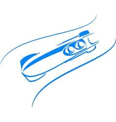 Bobsleigh in blue vector