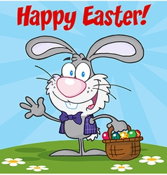 Gray happy easter bunny carrying a basket of eggs vector