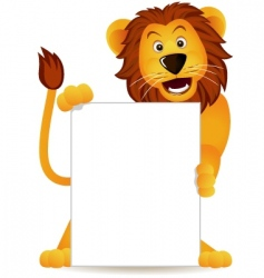 Lion and banner vector