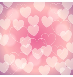 Pink romantic blurred background with bokeh hearts vector