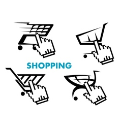 Shopping cart and retail business icons set vector