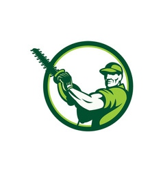 Tree surgeon holding hedge trimmer retro vector