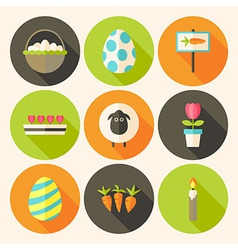 Easter flat styled circle icon set 4 with long vector