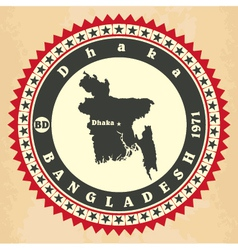 Vintage label-sticker cards of bangladesh vector