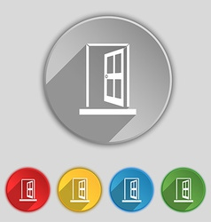 Door enter or exit icon sign symbol on five flat vector