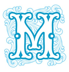 Winter vintage letter m vector
