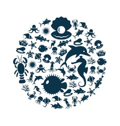 Sealife icons in circle vector