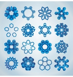 3d christmas snowflakes vector