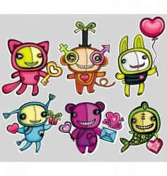 Valentine's cartoon animals vector