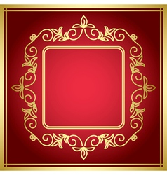Red decorative card with golden frame vector