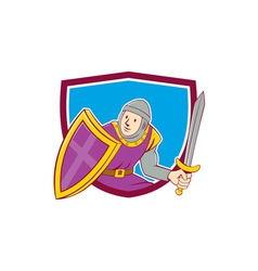 Medieval knight shield sword cartoon vector