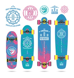 Set of outline emblems on longboard vector
