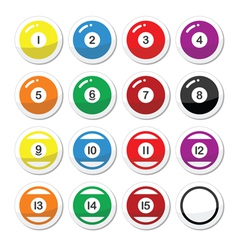 Pool ball billiard or snooker ball icons set vector