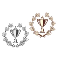 Award bowl with laurel wreath vector