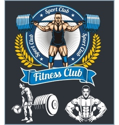 Bodybuilder with a barbell - set vector