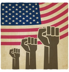 Fist independence symbol american flag old vector