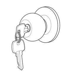 Door knob out line vector