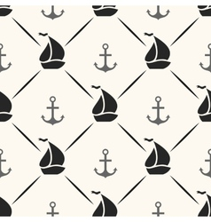 Seamless pattern of anchor sailboat shape and line vector