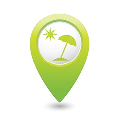 Beach icon green map pointer vector