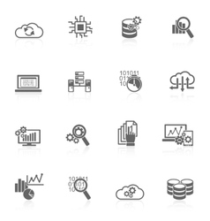 Database analytics icons black vector