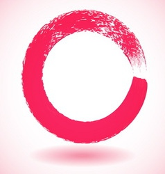 Pink paintbrush circle frame vector