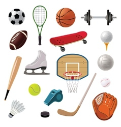 Sports equipment icons set vector