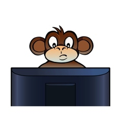 Monkey behind screen vector